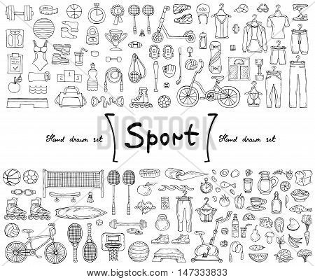 Vector set with hand drawn isolated doodles on the theme of sport fitness healthy lifestyle. Illustrations of sports equipment sportwear and food. Sketches for use in design