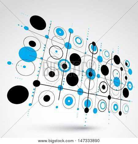 Modular Bauhaus 3d vector blue background created from simple geometric figures like circles and lines. Best for use as advertising poster or banner design.
