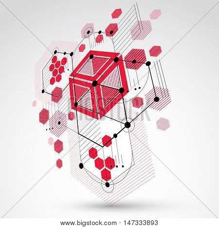 3d vector Bauhaus abstract background made with grid and overlapping geometric elements circles and honeycombs. Retro artwork technology style red graphic template for advertising poster.