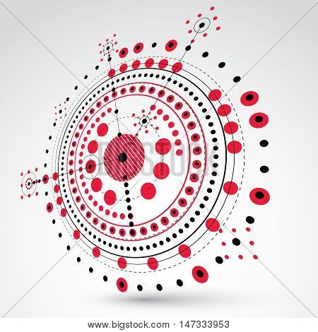 3d engineering technology vector backdrop. Futuristic technical plan in red color mechanism. Mechanical scheme dimensional abstract industrial design