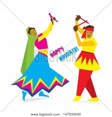 celebrate navratri festival with dancing garba design vector
