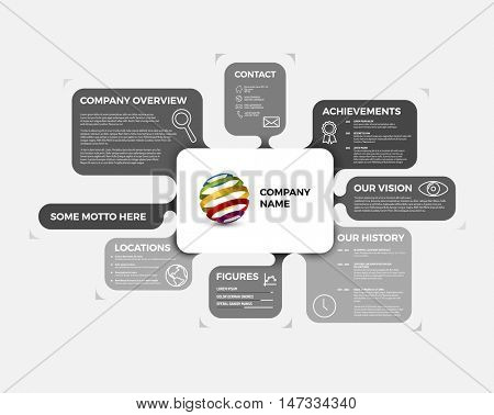 Vector Company infographic overview design template with rounded labels - light version