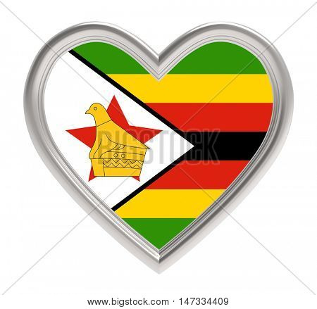 Zimbabwe flag in silver heart isolated on white background. 3D illustration.