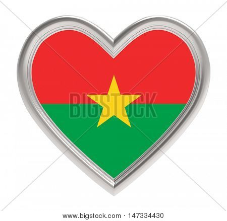 Burkina Faso flag in silver heart isolated on white background. 3D illustration.