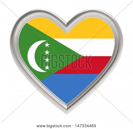 Comoros flag in silver heart isolated on white background. 3D illustration.