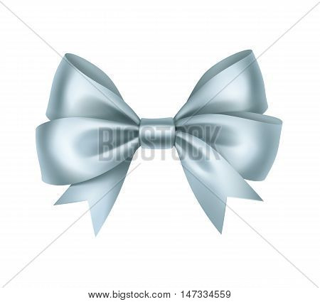 Vector Shiny Light Blue Satin Gift Bow Close up Isolated on White Background