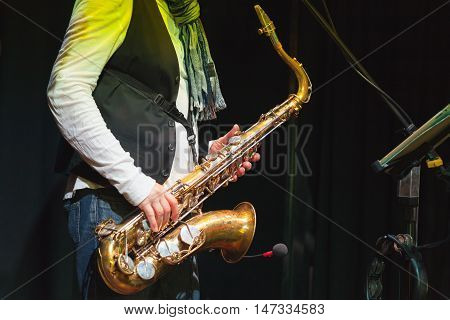 Saxophonist On A Stage