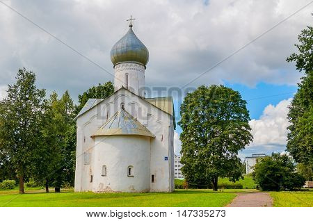 Architecture view of ancient church of Church of the Twelve Apostles on the Abyss in Veliky Novgorod Russia. Architecture view of landmark in summer sunny day