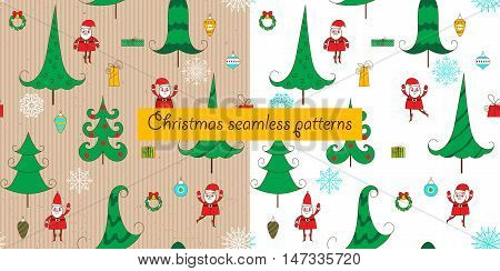 Two christmas seamless pattern on a white background and a cardboard background. Christmas tree Santa snowflakes and balls. Funny background for Christmas and New Year. Vector illustration.