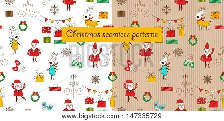 Two christmas seamless patterns on a white background and a cardboard background. Santa deer gift box and mittens. Funny backgrounds for Christmas and New Year. Vector illustration.