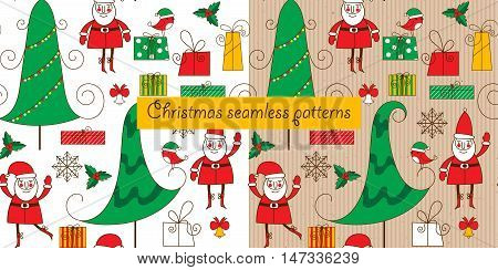 Two christmas seamless pattern on a white background and a cardboard background. Santa a Christmas tree a bird and a gift box. Funny background for Christmas and New Year. Vector illustration.