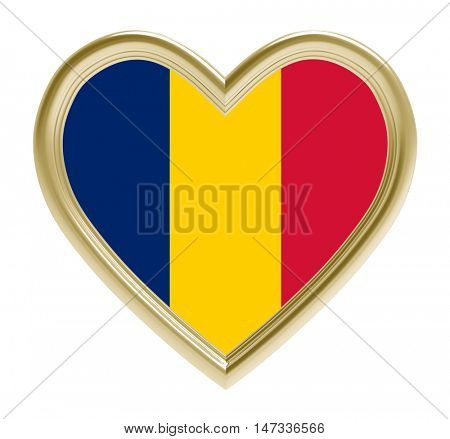Chad flag in golden heart isolated on white background. 3D illustration.