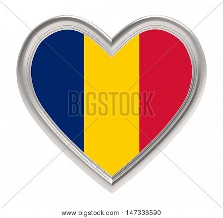 Chad flag in silver heart isolated on white background. 3D illustration.