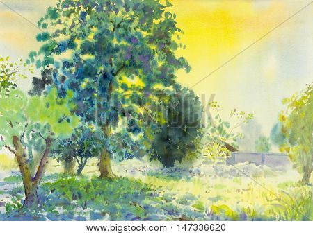Watercolor landscape original painting colorful of garden and emotion in blue background