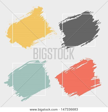 Set of 4 bstract background brush paint texture.Ink brush strokes with rough edges. Background with geometric frame. Vector illustration.