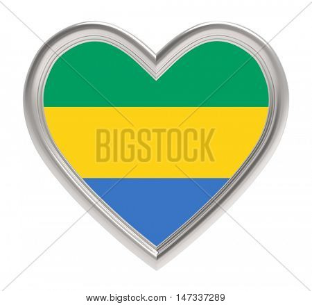 Gabon flag in silver heart isolated on white background. 3D illustration.
