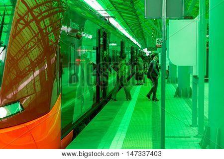 MOSCOW, RUSSIA - SEPTEMBER 13, 2016: Central Circle Line MCC Lastochka train at the station Delovoj centr