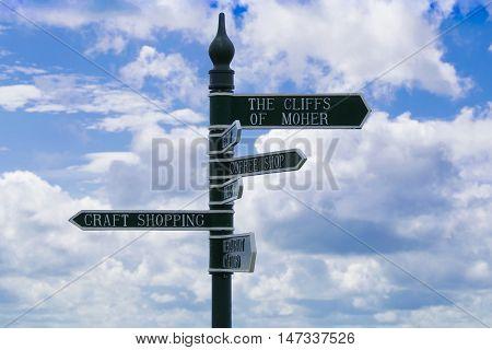 Irish Cliffs of Moher Sign in tourist сentre