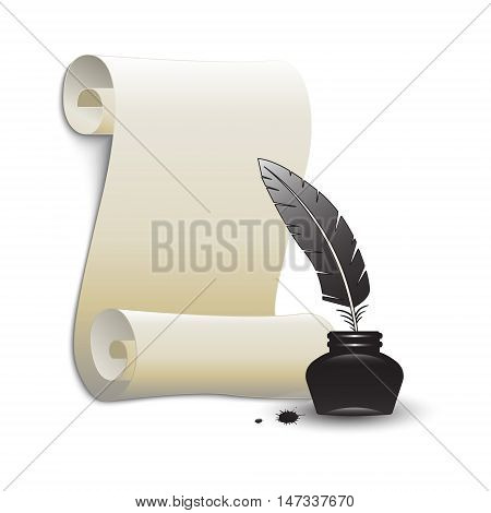 Roll of old paper and feather in the inkwell. Elements for your design. Vector illustration.