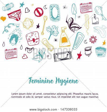 Sketch Feminine hygiene banner design with tampon, menstrual cup, soap, sanitary napkin. Modern black line vector illustration for promo materials, package design