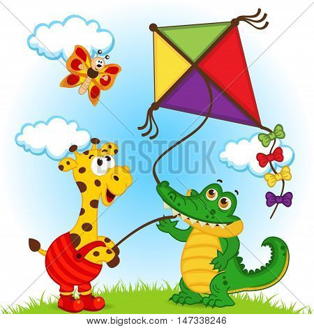 giraffe and crocodile launching a kite - vector illustration, eps