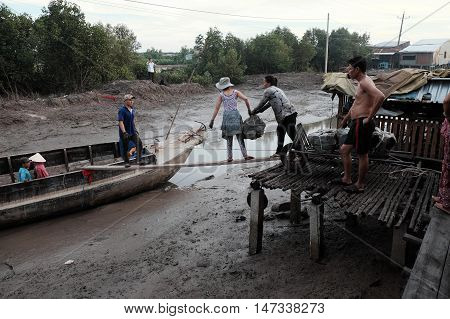 Transport Charcoal, Ca Mau, Viet Nam