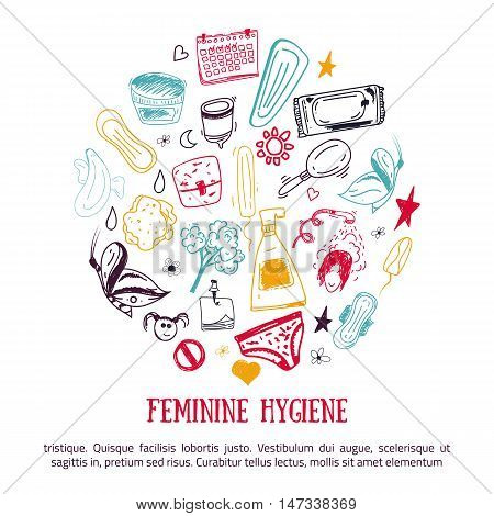 Sketch Feminine hygiene banner design in circle shape with tampon, menstrual cup, soap, sanitary napkin. Modern black line vector illustration for promo materials, package design