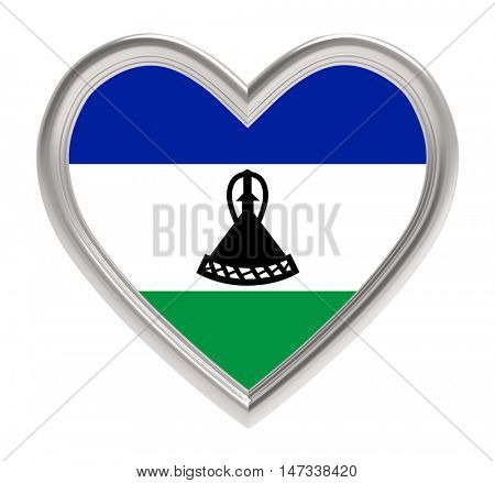 Lesotho flag in silver heart isolated on white background. 3D illustration.