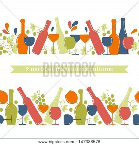 The concept of wine a wine shop sale of alcohol or wine production.Trendy vector design. 2 horizontal seamless patterns.