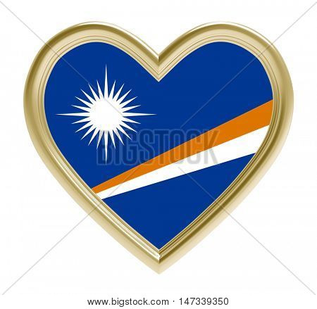 Marshall Islands flag in golden heart isolated on white background. 3D illustration.