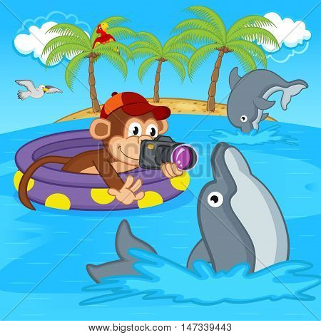 monkey photograph of dolphins - vector illustration, eps
