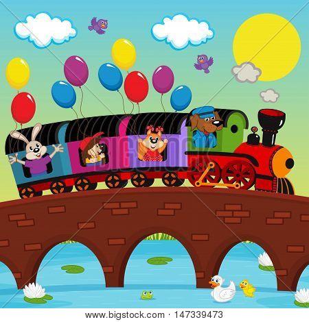 train on bridge with animals - vector illustration, eps