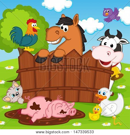 domestic animals behind a fence - vector illustration, eps