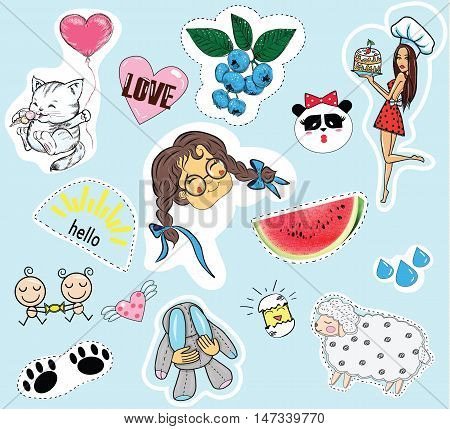 Fashion patch badges. Set of cute stickers pins patches in cartoon comic style. Vector Stickers