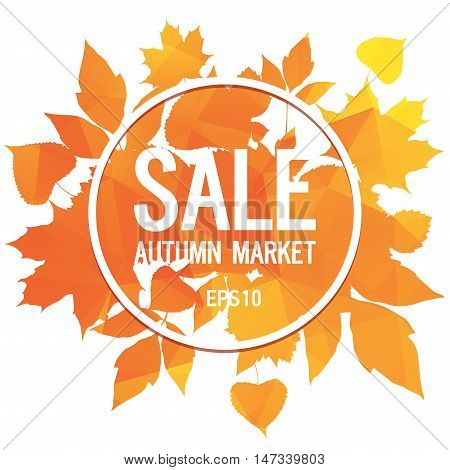Golden autumn, seasons sale, market, leaves of bouquet, orange triangular background, abstract vector design art