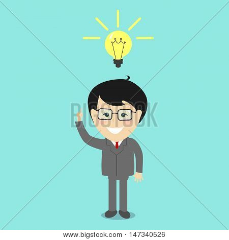 Businessman had an idea. Make the idea and concept solutions . Vector illustration