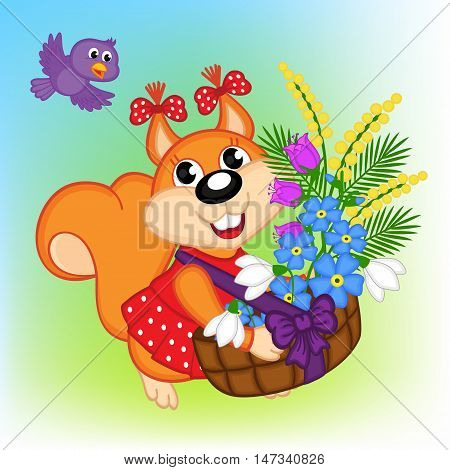 squirrel with a basket with flowers - vector illustration, eps