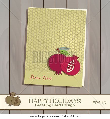 Pomegranate Greeting card design vector template. Jewish New Year greeting card. Greeting text