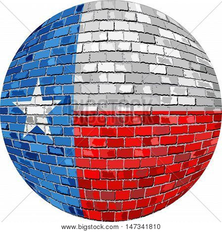 Ball with Texas flag - Illustration,  Texas flag sphere in brick style,   Abstract Grunge Mosaic flag of Texas in circle