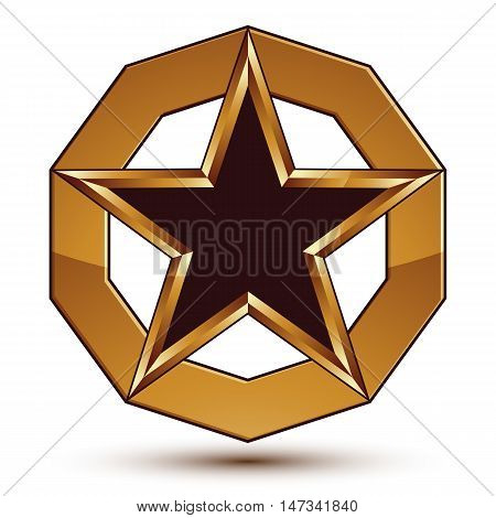 Vector stylized symbol isolated on white background. Glamorous black star with golden outline