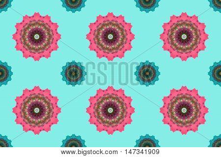 Mandala art, kaleidoscope , Seamless abstract flowers wallpaper background.