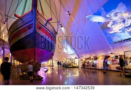 OSLO, NORWAY - AUGUST 27, 2016: The Gjoa ship at at The Fram Museum in Oslo.