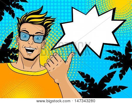 Young Handsome Surprised Blond Man With Open Mouth Pointing On Speech Bubble. Comic Man In Retro Sty