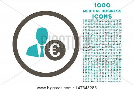 Euro Banker rounded vector bicolor icon with 1000 medical business icons. Set style is flat pictograms, grey and cyan colors, white background.
