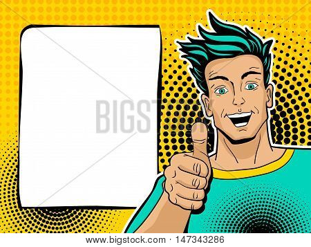 Happy Handsome Surprised Man Shows Thumb Up. Vector Illustration In Pop Art Comic Style. Vector Back