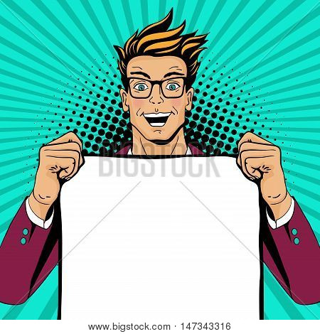Wow Pop Art Man. Young Happy Surprised Man In Glasses With Open Mouth Holding Empty Poster For Your