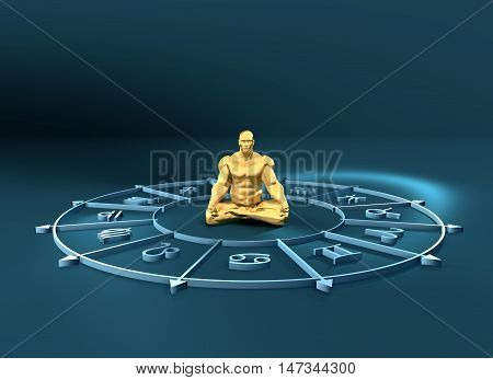 Golden astrological symbols in the circle. Muscular man in lotus position. 3D rendering. Metallic figure