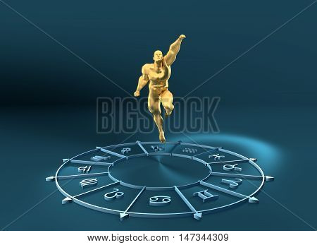 Golden astrological symbols in the circle. Muscular man fly out from the center of the ring. 3D rendering. Metallic figure