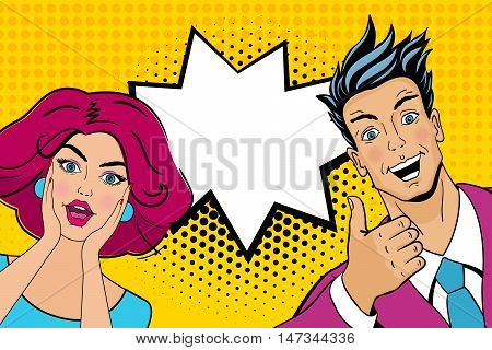Wow Couple. Attractive Surprised Man And Woman In Pop Art Comic Retro Style With Open Mouths. Vector