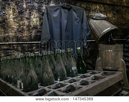 old vine cellar include clothes and bottle
